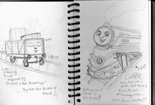 Thomas and Friends Sketches- Truck and Caitlin by cellytron