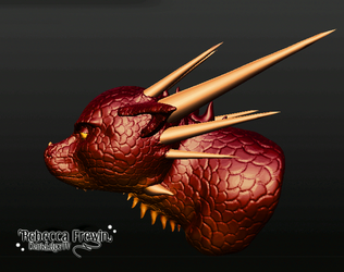 3D Red Dragon Bust by Rebecca1208
