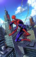 SPIDER-MAN swinging through the City colors by JoeyVazquez