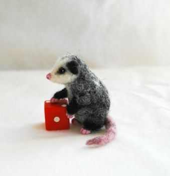 Miniature Neddle Felted Opossum by amber-rose-creations