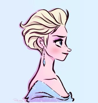 Elsa with short hair by princekido