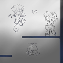 Megaman Rescues Roll sketch by meteorstom