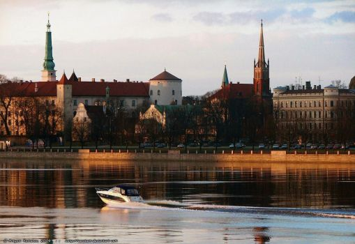 Riga in the evening by aerotem