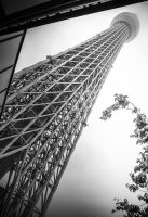 Rain falls on Tokyo Skytree by Xyclopx