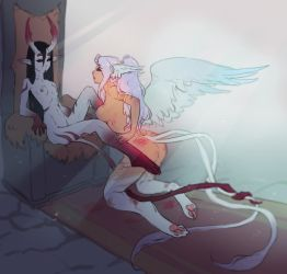 Lady Wolf and Karna The Sphinx by Kardie