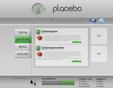 placebo homepage template by chiefwrigley