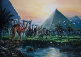 Pyramids of Giza - Oil on Canvas (80x60cm) by Aronja