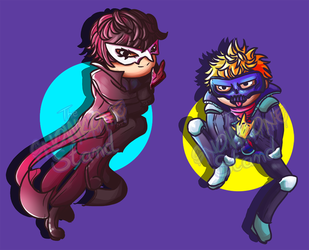 {Chibs} Persona 5: Joker and Skull by kellieabomination