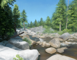 River and Pines - Landscape Study by Aliciane