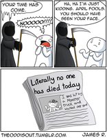 Death and April Fools Day by theodd1soutcomic