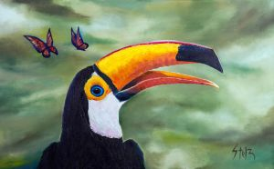 Toucan and butterflies by VladStelz
