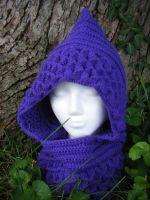 Single-Tone Amethyst Dragon Scale Hood by Arexandria