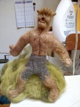 Needle Felted Classic Wolfman by Moon-Crafter
