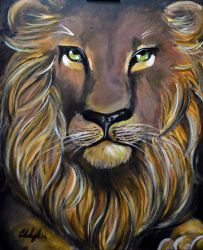 Lion In Acrylic by TravelingArtist93