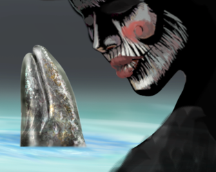 THE SILENT ONE GOES TO VISIT THE GRAY WHALE by memuco