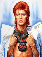 David Bowie portrait painting Ziggy Stardust by SpirosSoutsos