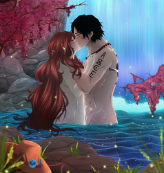 Ace and Hatomi.Kiss under a waterfall. by HatoChan19