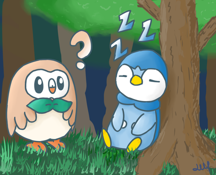 Piplup And Rowlet by Lineon-RL