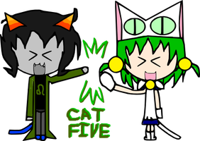 Nepeta and Dejiko High Five by Giss-chan