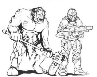 Ogre and Soldier by KillustrationStudios