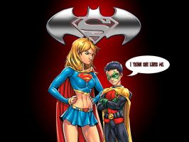 Supergirl and Robin by Superman8193