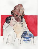 Ackbar, Leia and R2 - Star Wars by stuponitron