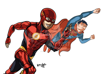 COME TOGETHER-FLASH N SUPERMAN VERSION by UNDISCOVER-art