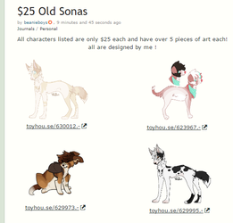 Character Sale! by adogtables