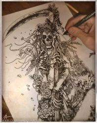 Santa Muerte - Inked sketch by Lovell-Art