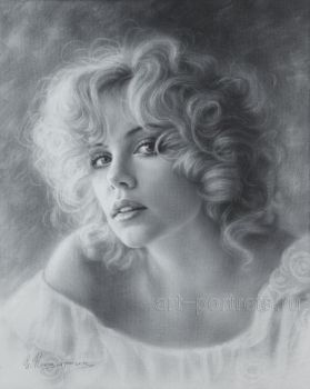 Portrait Drawing of Charlize Theron by Dry brush by Drawing-Portraits