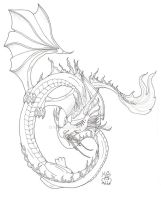 Oriental Ice Dragon ink by Scellanis