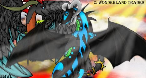 Draconic Lovers - Contest - Old Digital Artwork by WonderlandTrades