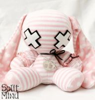 Pink Stripe Bunny by splitmindplush