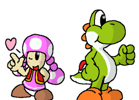 Yoshi and Toadette by boomerbro6