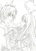 Erza and Jellal from Fairy Tail (lineart) by yoolin