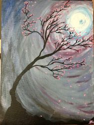Cherry Blossoms in the Moonlight  by The-Sunflower-Sniper