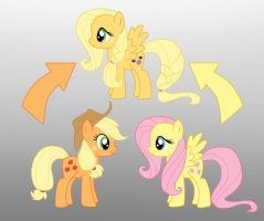 Pony Fushion: Apple Jack And Fluttershy by Willemijn1991