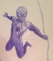 Spider-Man in blue pen by swiftcross