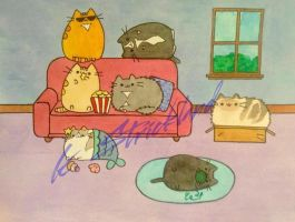 Pusheen portraits! by atreyu917