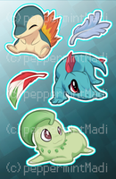 Stickers: HeartGold/SoulSilver Starters by peppermintMadi