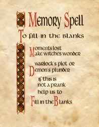 Memory Spell, To Fill In The Blanks by Charmed-BOS