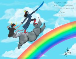 Riding a Rhino up a Rainbow by Tanize