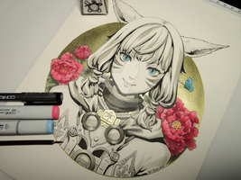 Inktober - Day 02 - Final Fantasy XIV Y'shtola by Bellpepper-art