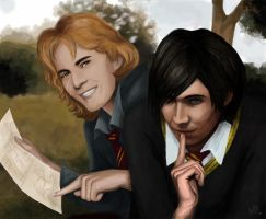 Moony and Padfoot by J-Grey