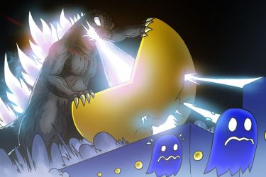 Godzilla Vs- Pac Man by OUTCASTComix