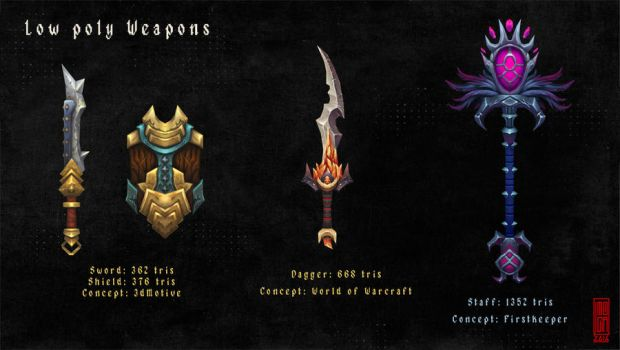 Low poly fantasy weapons by Imogia