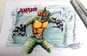 Kamen rider amazon with Copic Sketch by thiagospyked