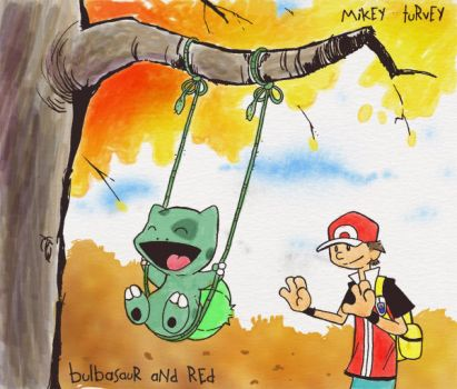 Bulbasaur and Red by toadcroaker