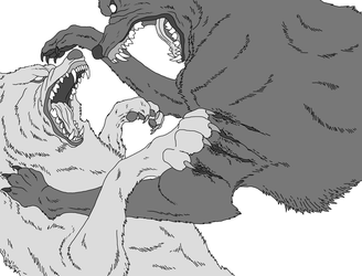 Ultimate Wolf Fight (MS Paint Lineart) by TheSodaSmuggler