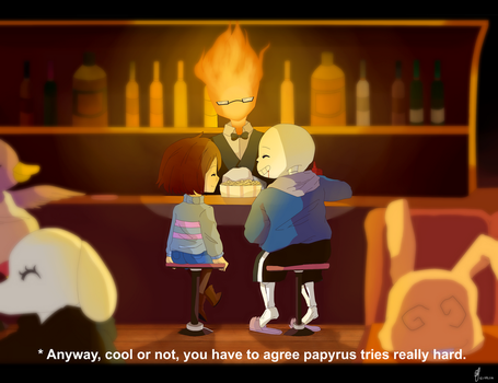 CE : Hanging around at Grillby's by shallowdeepcreation
